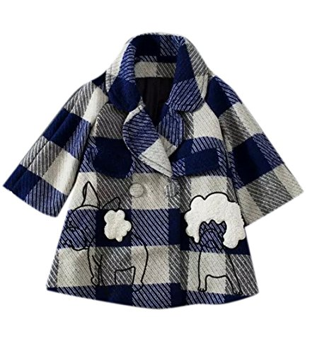 Enlishop Women's Sweet Double Breasted Plaid Embroidered Loose Trench Coat ()