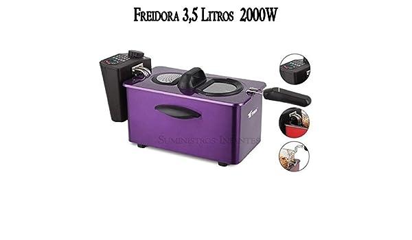 Freidora eléctrica 3,5 litros. Potencia 2000W. Interior con recubrimiento antiadherente. Capacidad para alimentos 800-900 gr. Precioso diseño color morado.