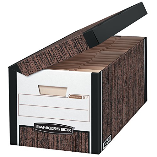 Bankers Box SYSTEMATIC Medium-Duty Storage Boxes, Fast Fold, Lift-Off Lid, Letter/Legal, Case of 12 (00052)