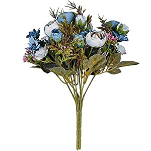 N&T NIETING Artificial Flowers Silk Rose Bouquet, 5 Branch 12 Heads Fake Flowers for Wedding Floral Home Decor Bouquet, Pack of 2 58