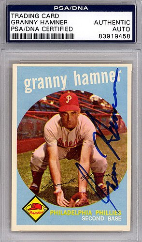 Granny Hamner Signed 1959 Topps Trading Card #436 Philadelphia Phillies - Certified Genuine Autograph By PSA/DNA - Autographed MLB Trading Card