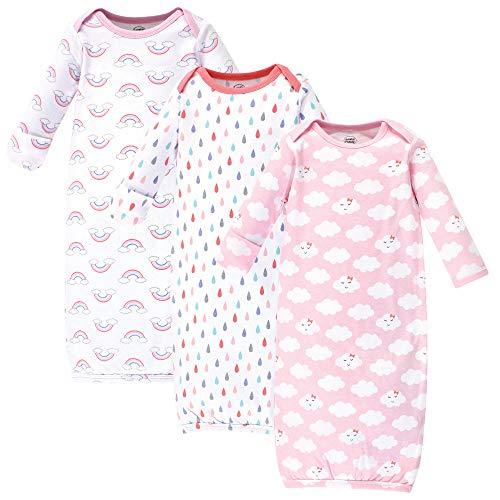 Luvable Friends Unisex Baby Cotton Gowns, Girl Clouds 3-Pack, 0-6 -