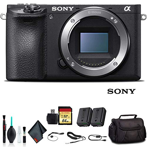 Sony Alpha a6500 Mirrorless Camera ILCE6500/B with Soft Bag, Additional Battery, 64GB Memory Card, Card Reader, Plus Essential Accessories