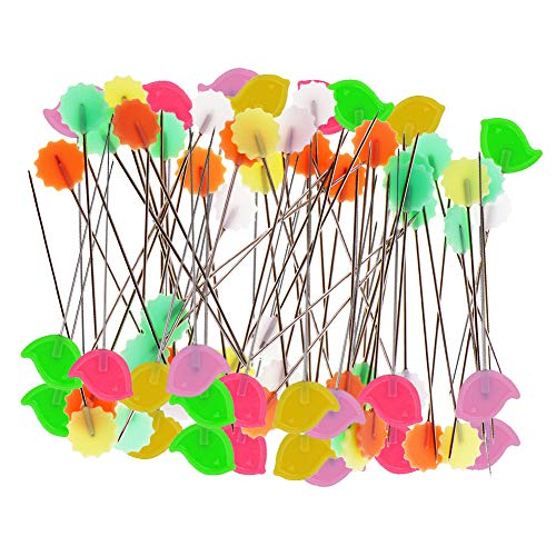 Quilting Pins 200Pcs Flat Head Decorative Sewing Pins/Long Straight Pins/Flower Head Pins/Colored Flat Button Pins with A Clear Cases, Extra Fine for Dressmaking Jewelry Components Flower Decoration
