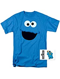 Sesame Street Character Face Adult T Shirt & Exclusive Stickers