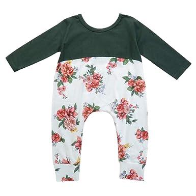 6369ea448ad1 Amazon.com  WARMSHOP Romper Toddler Boys Girls Long Sleeves Flowers ...