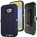 S7 Holster Case with Clip - Auker Shockproof Water Impact Resistant Anti Slip Scratch Drop Tough Rugged Rubber Defender Kickstand Case with Built-in Screen Protector for Samsung Galaxy S7 (Navy-G)