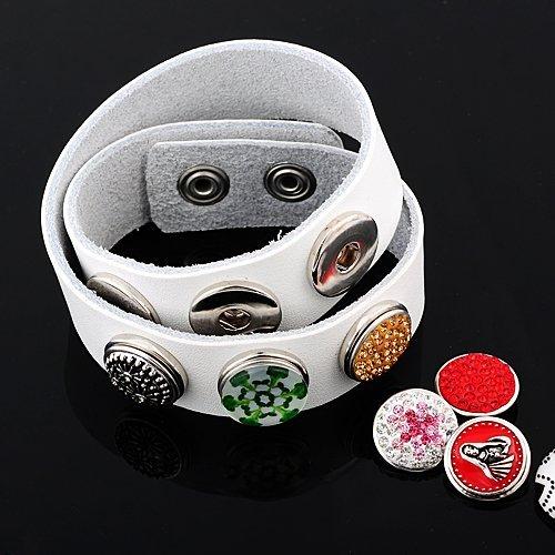 Andante bouton pression CHUNK en verre (blanc) pour bracelets Chunk, bagues Chunk et autres accessoires Chunk