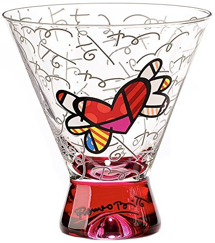 i Glass - Pink Base, Graphic Pattern with Flying Hearts Design ()