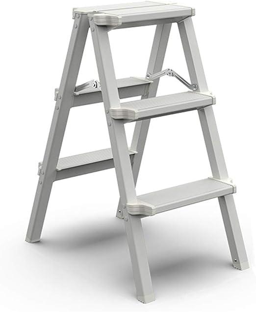 De Espesor De Aluminio De 3 Escalera Plegable - Plegable Multiusos Ingeniería Banquetas para Interiores y Exteriores, Capacidad De 150 Kg (Color : White): Amazon.es: Hogar