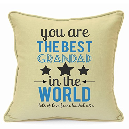 Personalized Presents Gifts For Grandad Grandpa Nanna Birthday Fathers Day Christmas Xmas You Are Worlds Best Quotes Cushion Cover 18 Inch 45 Cm Unusual Special Unique Idea Home Decor