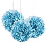 "9"" Small Light Blue Tissue Paper Pom Poms, 3ct"