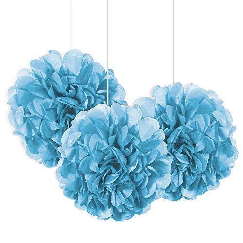 light blue pom pom decorations - 2