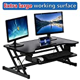 Standing Desk Computer Workstation Adjustable Height Desk Stand Up Desk Sit Stand Desk for Laptop and Monitor,Extra Large Work Area 36'