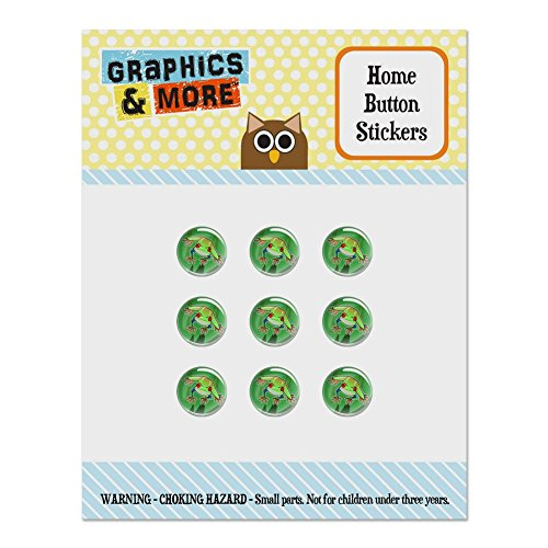 Puffy Frog (Tree Frog on Leaf Set of 9 Puffy Bubble Home Button Stickers Fit Apple iPod Touch, iPad Air Mini, iPhone 5/5c/5s 6/6s 7/7s Plus)