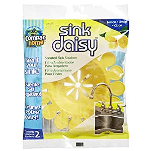 Compac Sink Daisy Scented Sink Strainer, Lemon, 2 Count