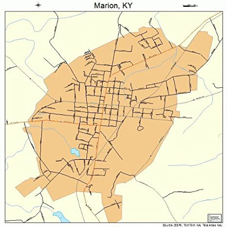 Amazon.com: Large Street & Road Map of Marion, Kentucky KY ...