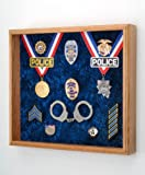 Law Enforcement Memorabilia Shadow Box Display - 20''x18''x3'' - perfect for all Police, Sheriff, DEA, FBI, CHP, Firefighter