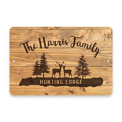 Personalized Rustic Wood Plank Hunting Lodge Metal Room Sign