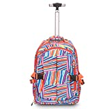 19 inches Multifunction Waterproof Wheeled Rolling Laptop Backpack College Books Bag by HollyHOME, Rainbow Prints