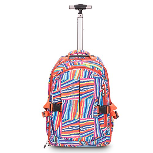 19 inches Multifunction Waterproof Wheeled Rolling Laptop Backpack College Books Bag by HollyHOME, Rainbow Prints ()