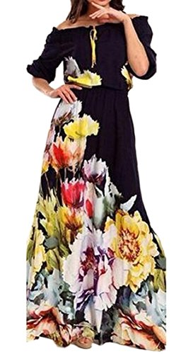 Women Floral The As Tunic Picture Swing Dress Clubwear Sleeved Stylish Jaycargogo Shoulder Semi s Off Print fxBnpw1