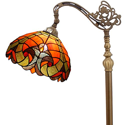Lamp Antique Tiffany Floor - Tiffany Style Reading Floor Lamp Stained Glass Red Liaison Lampshade in 64 Inch Tall Antique Arched Base for Girlfriend Bedroom Living Room Lighting Table Set S160R WERFACTORY