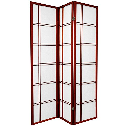 Oriental Furniture 6 ft. Tall Double Cross Shoji Screen - Rosewood - 3 Panels (End Room High Dividers)