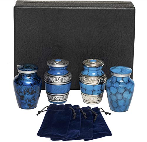 Eternal Harmony Keepsake Urns for Human Ashes   4 Cremation Urns Carefully Handcrafted with Elegant Finishes to Honor Your Loved One   Each Small Urn Comes in a Beautiful Velvet Bag (Blue)