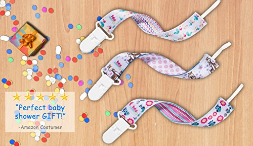 Premium Glow-in-the-dark Girls Pacifier Clips - 3 Binky Holders Pack - Including Ring Silicon Adapters - Never Lose a Paci Even in The Dark - Universal fit - MAM, NUK, Philips Avent Soothie