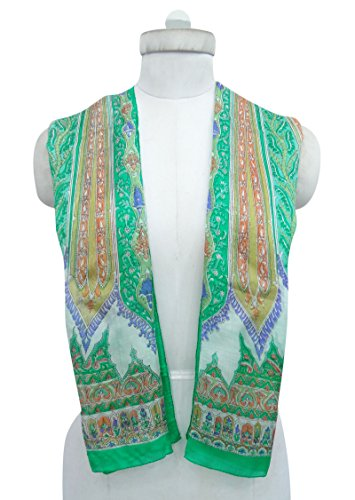 Soft Inches White 20 Off Wrap 70 x Green Scarves Floral Hijab Pure Silk Rectangle and qanIBv