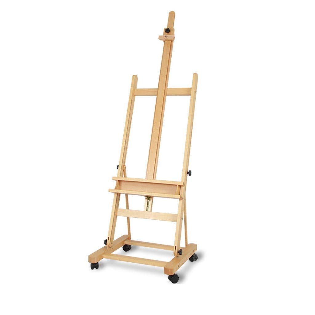 LING AI DA MAI American Art Supplies Beech Adjustable Wooden Floor Easel with a Height-Adjustable H-Frame with a Large tilt Range. Casters can be Easily Moved and Locked in Place, Solid Wood adverti by Furniture feet-DA