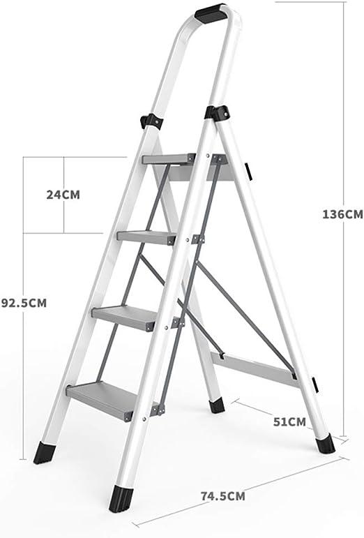 ZHAOYONGLI Taburete Plegable Escaleras de Mano Escaleras Plegables De Aleación De Aluminio Espesar Escaleras Multifuncionales Interiores Escalera Pequeña (Color : Blanco, Tamaño : 51 * 74.5 * 136cm): Amazon.es: Hogar