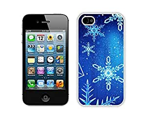 Iphone 4S Case, 3D Bling Christmas Snowflake wallpaper Iphone 4S Case - White Frame Ultra Fit Hard Case Shock-Absorption Bumper with Anti-Scratch Hard Case for iPhone 5/5S