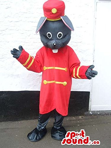 [Customised Mouse Mascot SpotSound US With Bellboy Red And Golden Clothes] (Bellboy Costumes)