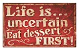 Lunarable Vintage Doormat, Retro Classic Design for Restaurant and Food Symbols Signs Funny Diner Supper, Decorative Polyester Floor Mat with Non-Skid Backing, 30 W X 18 L inches, Red and Cream