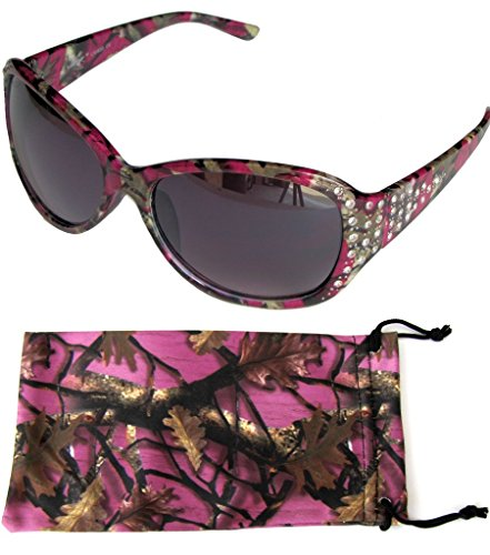 VertX Women's Purple-Pink Camouflage Sunglasses Oversized Rhinestone Designer Fashion Eyewear – Purple-Pink Camo Frame – Smoke - Purple Designer Sunglasses