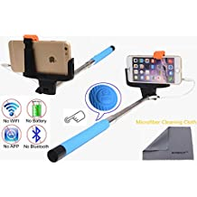 Wonbsdom Extendable Cable Control Built-in Remote Self-portrait Stick Monopod-Blue[No Bluetooth Matching & Battery Free]with Adjustable Phone Holder for Smartphones iPhone6 5 5s 5c 4s 4 Samsung Galaxy S5 S4 S3 Note4 3 2 Sony HTC,Nokia,etc.