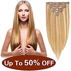 """Urbest hair Brazilian Clip In Human Hair Extensions Straight Hair Double Weft 100% Remy Human Hair 15Inches 7Pieces/Lot 70g 16Clips(15""""-70g,18/613#)"""