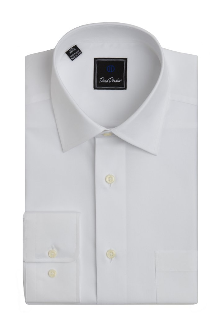 David Donahue Men's Super Fine Twill Regular Fit Dress Shirt 17 - 34/35 White
