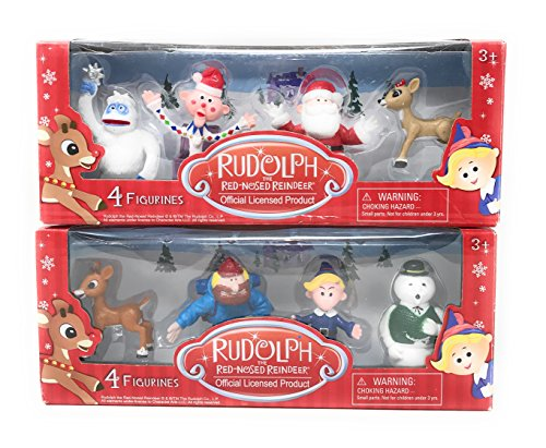 Rudolph the Red-Nosed Reindeer 4-Pack Collectible Figurine Set, Set of 2 (Figurine Reindeer Sets)