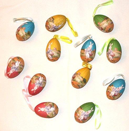 Mr Easter Bunny Hanging Foam Easter Egg Ornaments, Set of 12