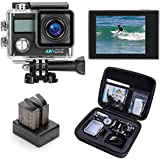 Darkeep WIFI 4K Sports Action Camera 16M 2 Inch 0.96 Inch LCD Dual Screen Digital Video Camcorders Ultra HD 1080P DV with Waterproof Case Accessories