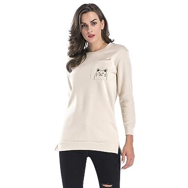 Gusspower Sudaderas Cálida Superior Mujer,2018 Pullover Camiseta Moda Blusa Tops de Manga Larga Casual Suéter de Dibujo de Gato de Dibujos Animados: ...