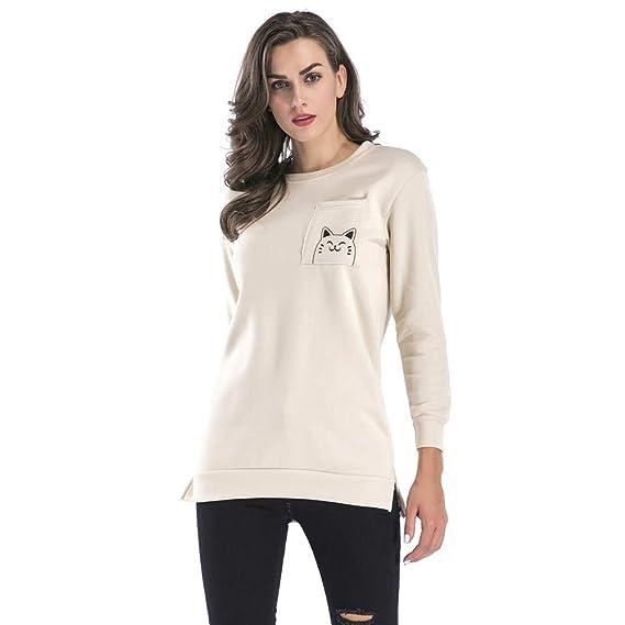 Blusas de Mujer Camisa de Manga Larga Otoño del Bolsillo Gato Impreso Blusas para Dama Casual