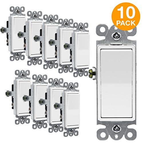 ENERLITES 3-Way Decorator Paddle Rocker Light Switch, Single Pole or Three Way, 3 Wire, Grounding Screw, Residential Grade, 15A 120V/277V, UL Listed, 93150-W-10PCS, White (10 Pack) Decora Style Rocker Wall Switch