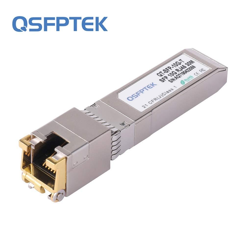 QSFPTEK 10G SFP+ RJ45 Copper Module, 10GBASE-T SFP+ Transceiver for Cisco SFP-10G-T-S, Ubiquiti UF-RJ45-10G, Netgear, TP-Link, D-Link, Supermicro, Linksys, Broadcom, Reach 30m