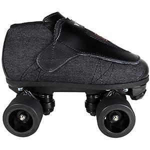 VNLA Stealth Jam Skates   Quad Roller Skates from Vanilla – Indoor Speed Skates – Denim and Leather – For Tricks and Rhythm Skating (Matte Black)