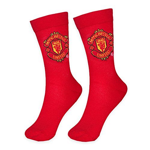 Manchester United Football Club Official Soccer Gift 1 Pair Mens Dress Socks Red