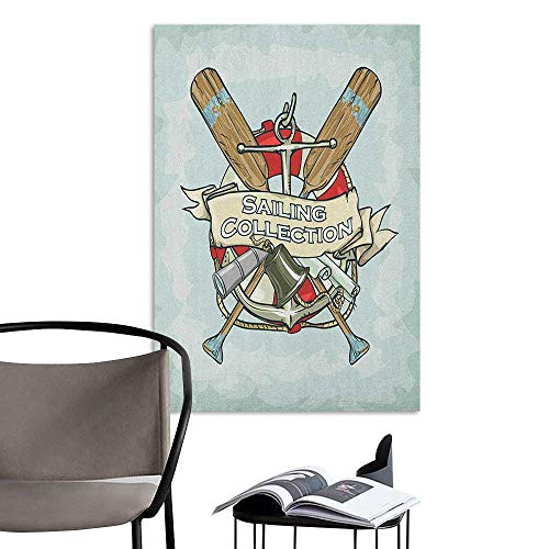 Wall Sticker self-Adhesive Nautical Sailing Collection Yacht Antique Historical Icons Life Saver Oars Almond Green Multicolor Hall Fashion W8 x H10